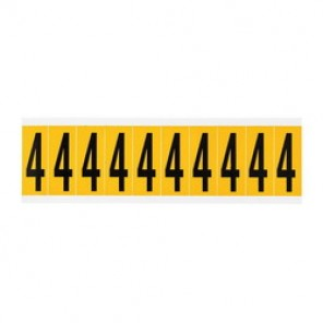 """Brady® 1520-4 Standard Number Label, 5/8 in 4"""" Character, 3/4 in H x 9/16 in W, Black on Yellow"""""""