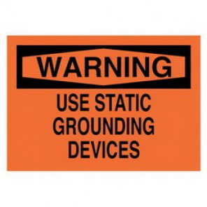 Brady® 22567 Electrical Hazard Sign, 14 in W x 10 in H, WARNING USE STATIC GROUNDING DEVICES, Black on Orange