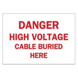 Brady® 22569 Electrical Hazard Sign, 10 in W x 7 in H, DANGER HIGH VOLTAGE CABLE BURIED HERE, Red on White